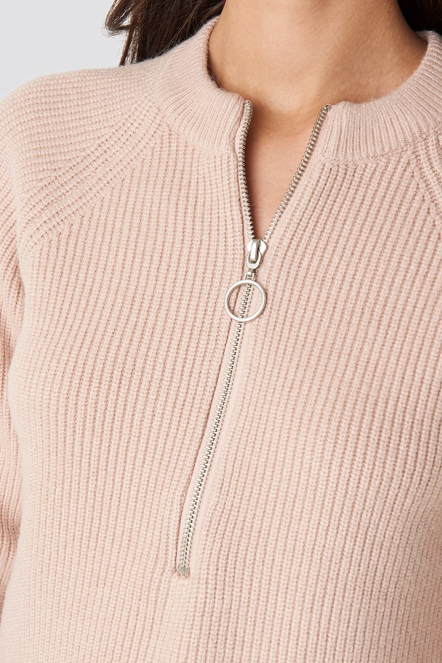 Zipper Front Knitted Sweater Dusty Light Pink