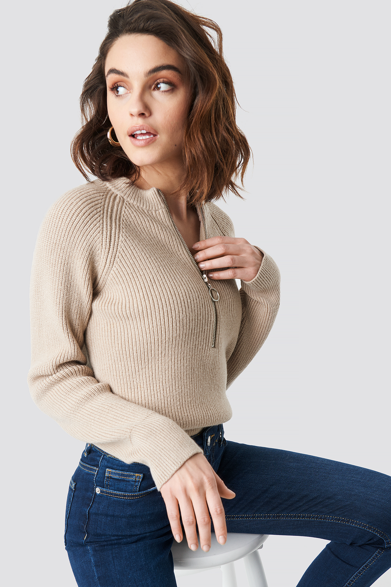 Zipper Front Knitted sweater NA-KD.COM