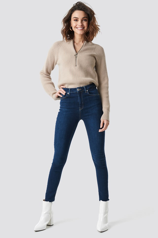 Zipper Front Knitted Sweater Beige