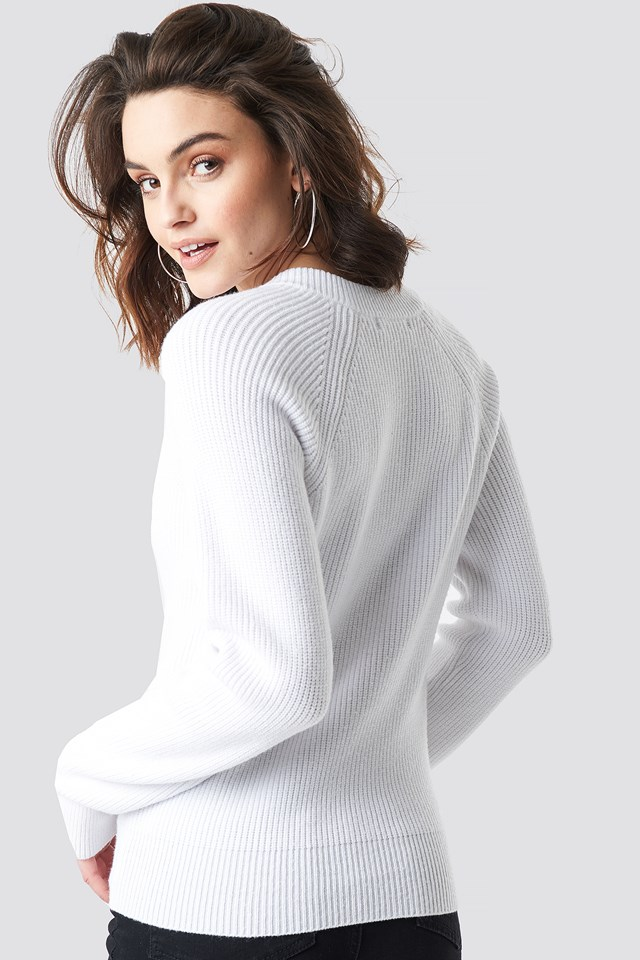 Zipper Front Knitted Sweater Offwhite