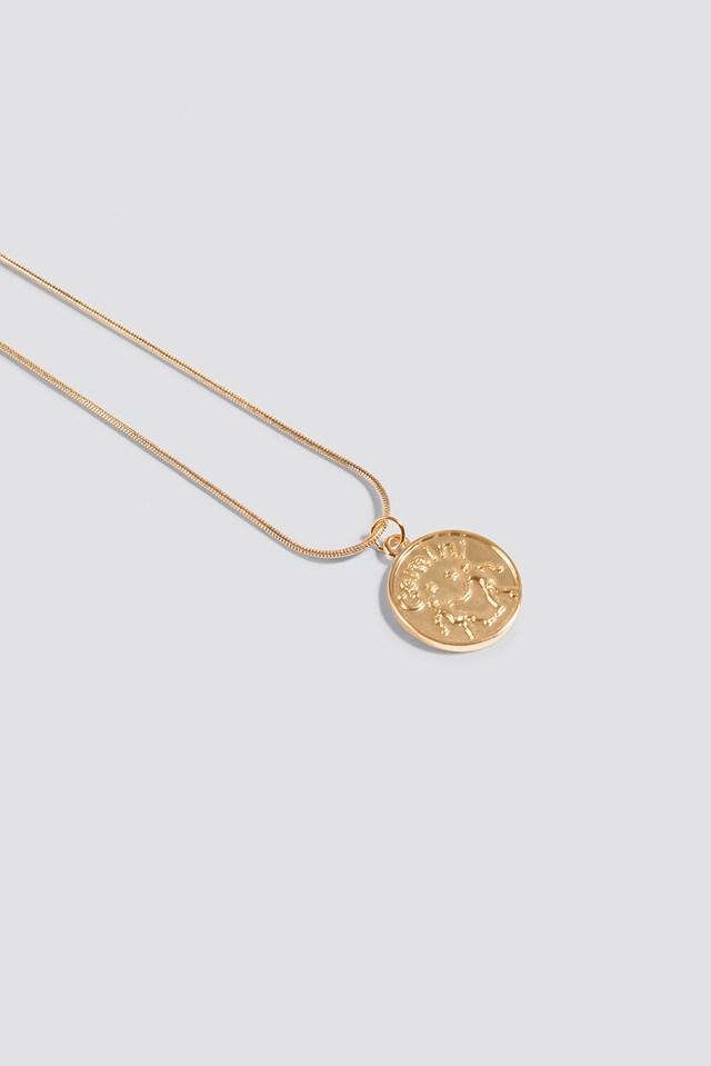 Zodiac Gemini Necklace Gold