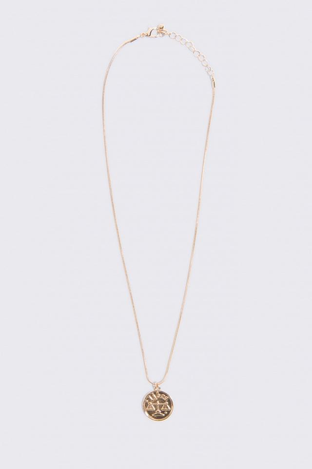 Zodiac Libra Necklace Gold