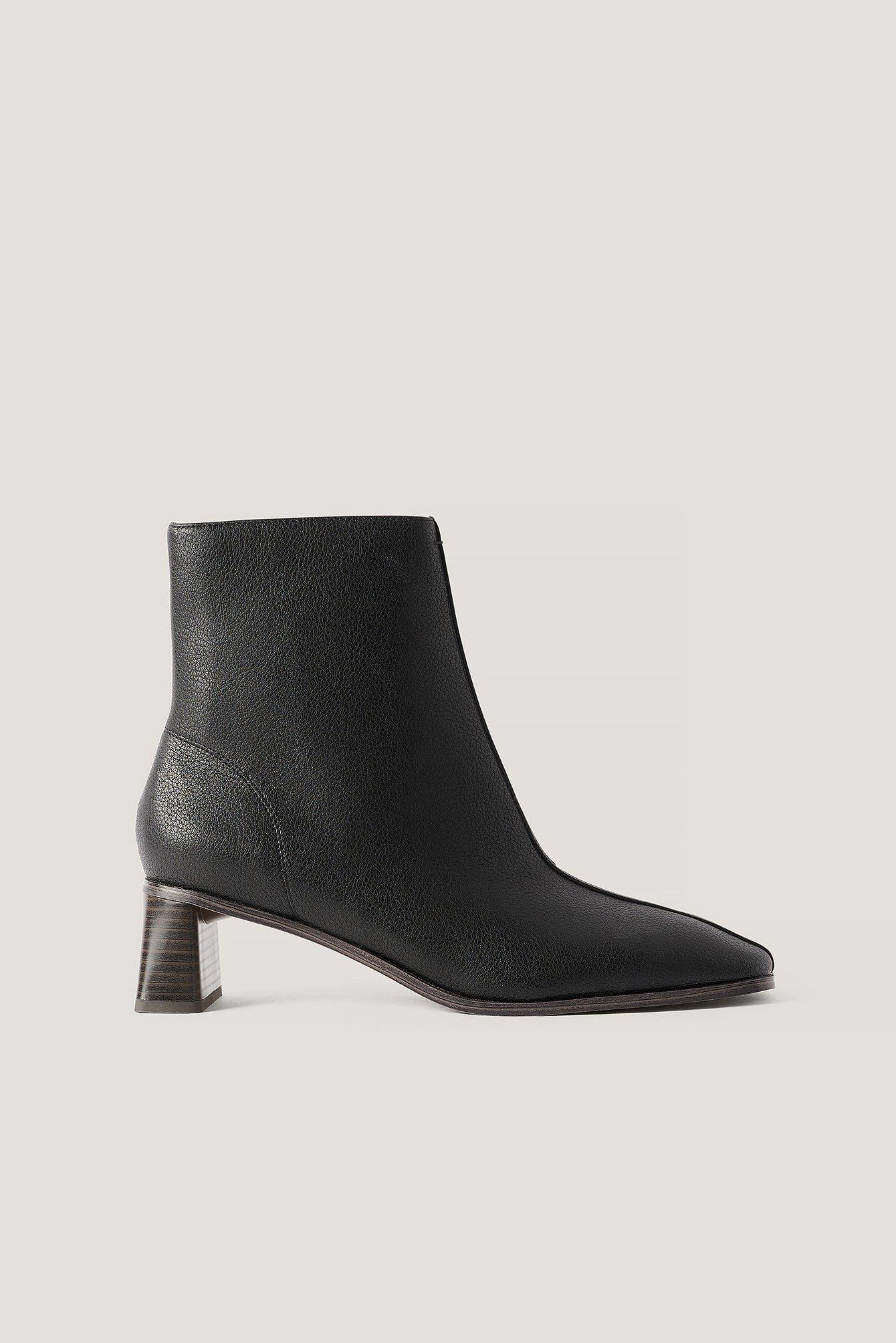 Na-Kd Shoes Zylinder Heel Squared Toe Boots - Black