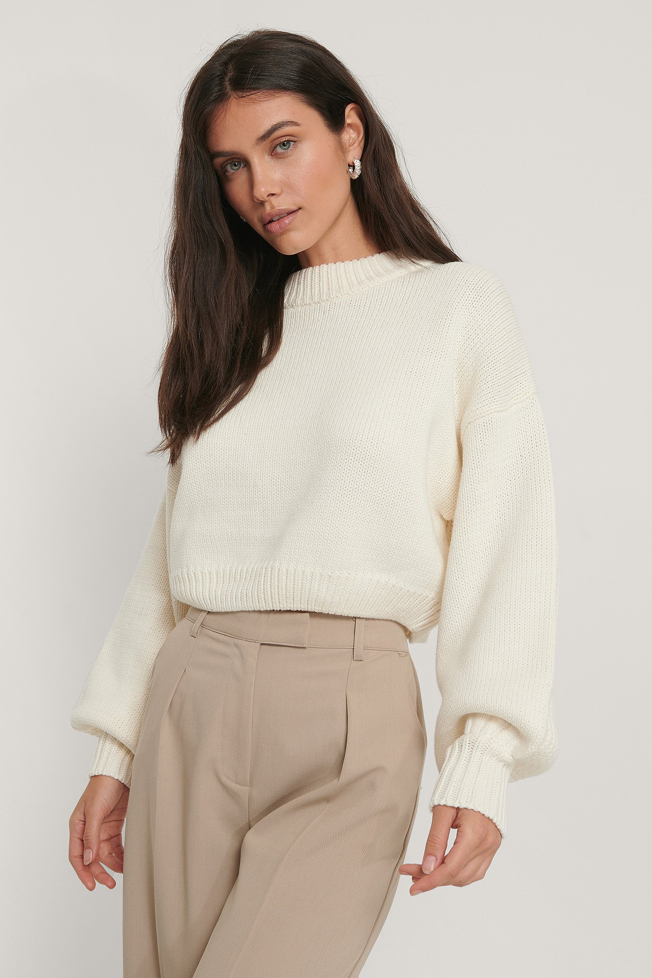 White Chunky Knitted Cropped Sweater