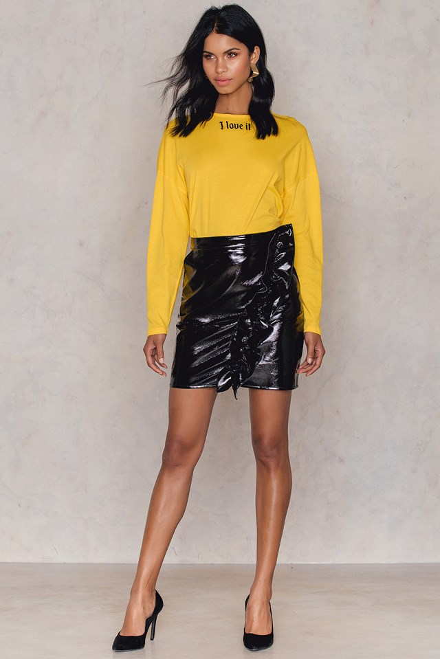 Patent Frill Skirt Black
