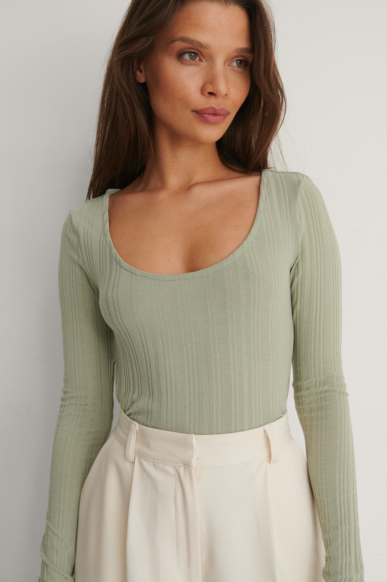 Khaki Recycled Scoop Neck Rib Top