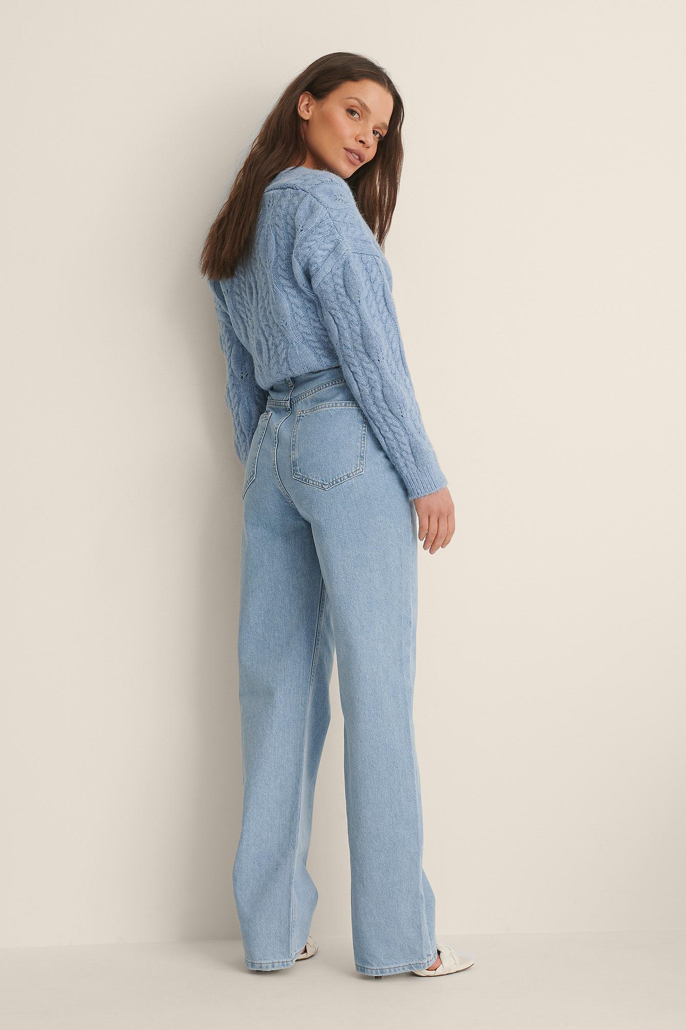 na-kd trend -  Organisch Denim-Jeans Mit Weiten Beinen Und Hoher Taille - Blue