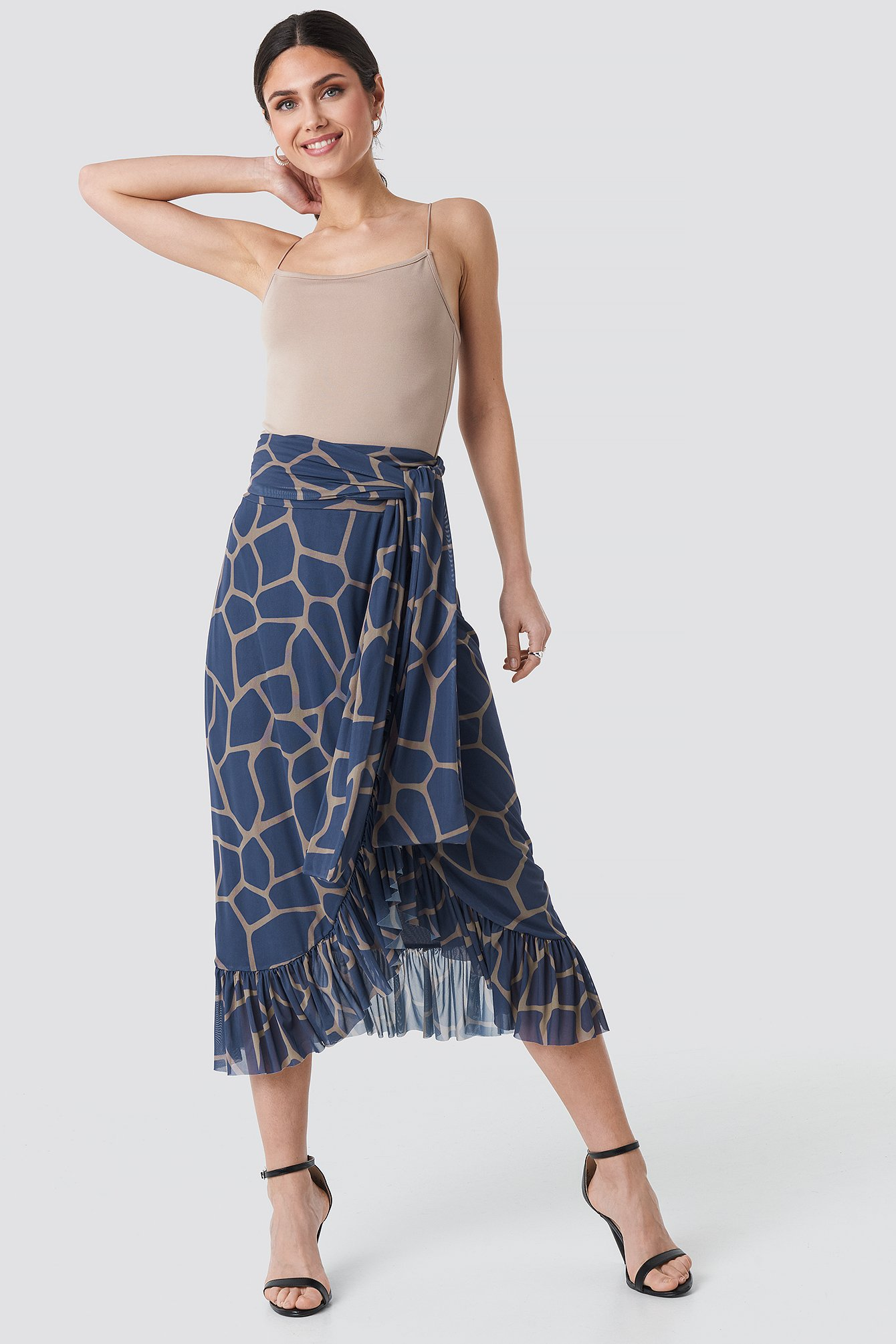na-kd trend -  Mesh Tied Waist Ankle Skirt - Blue