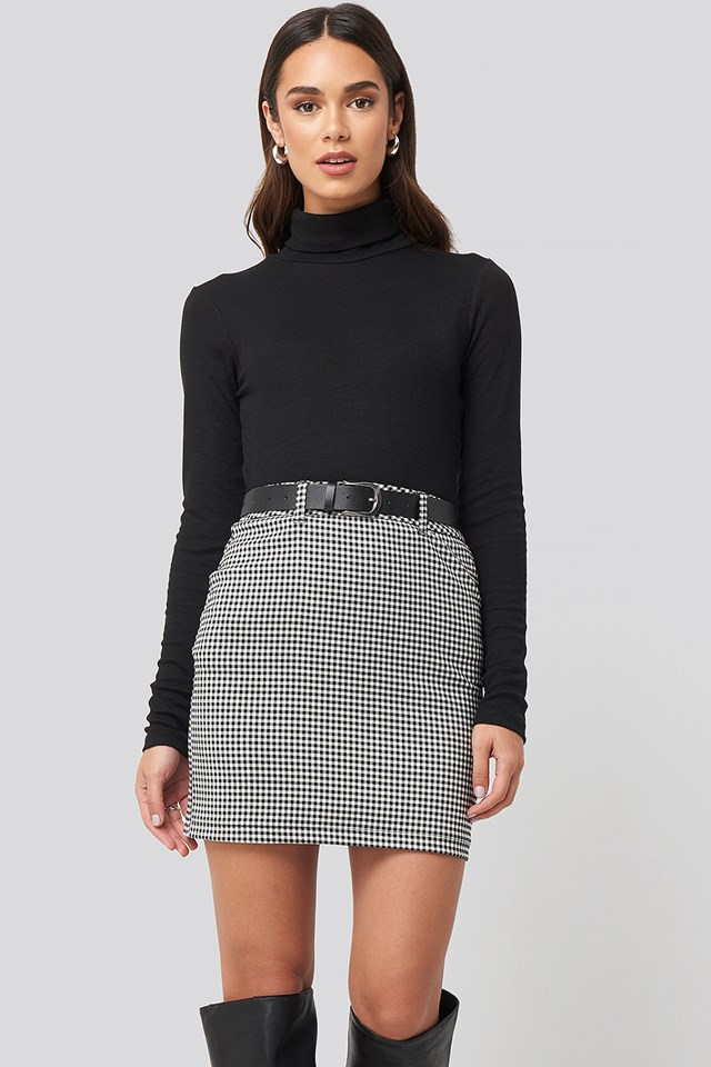 Checked Skirt Black