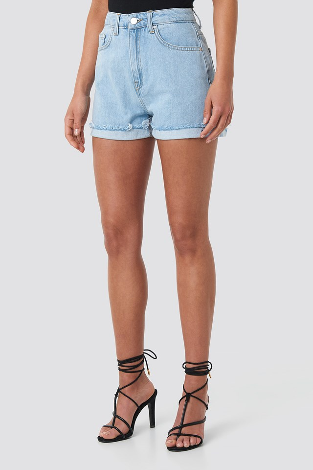 High Waist Denim Shorts Blue