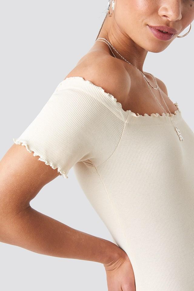 Off Shoulder Ribbed Dress Light Beige