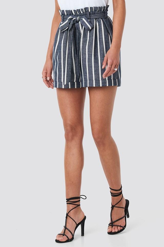Tie Waist Relaxed Shorts Blue/White Stripe