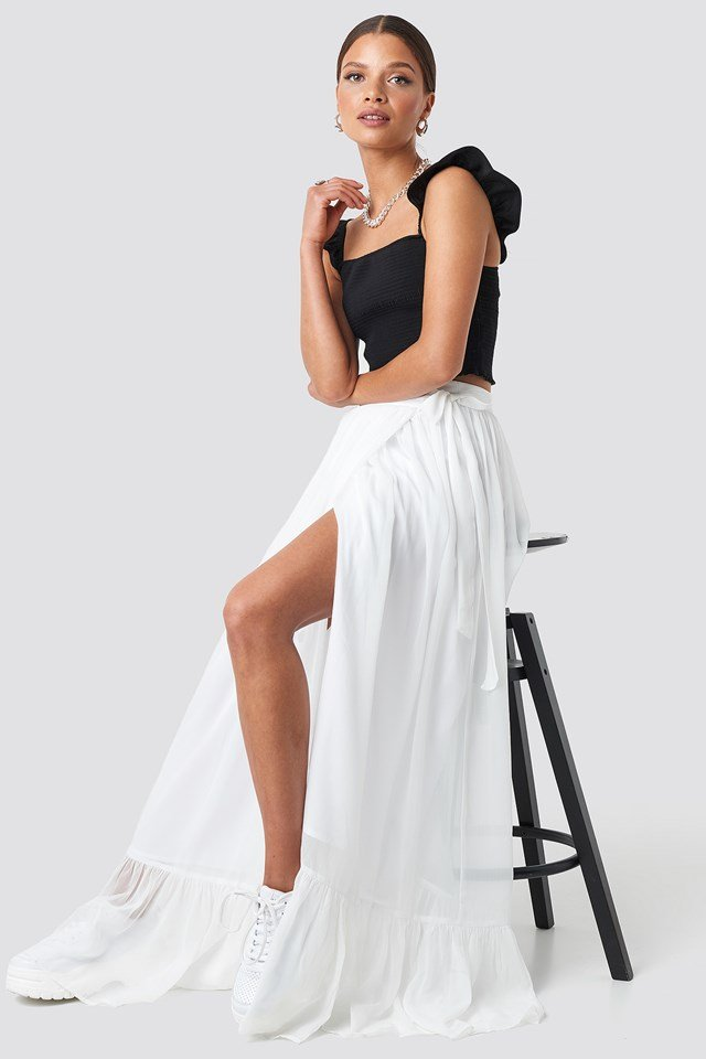 Tied Maxi Skirt White