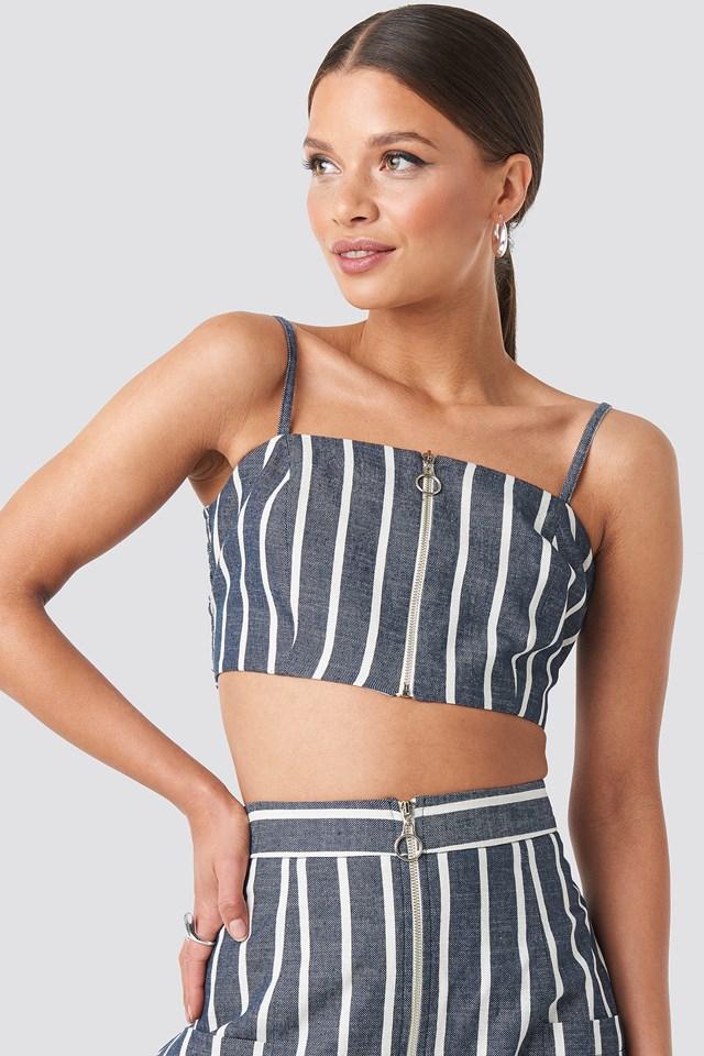 Zipped Singlet Blue/White Stripe
