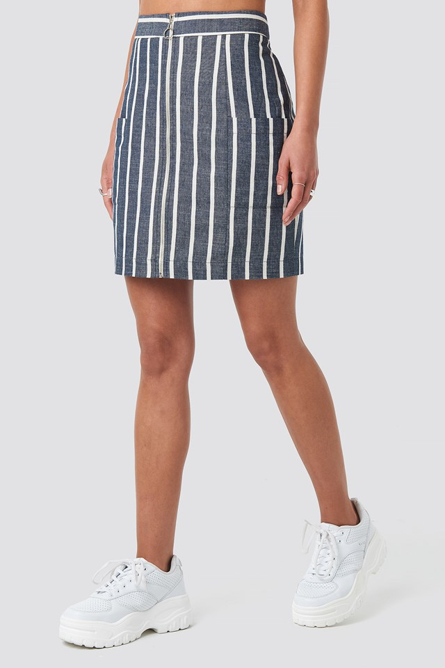Zipped Skirt Blue/White Stripe