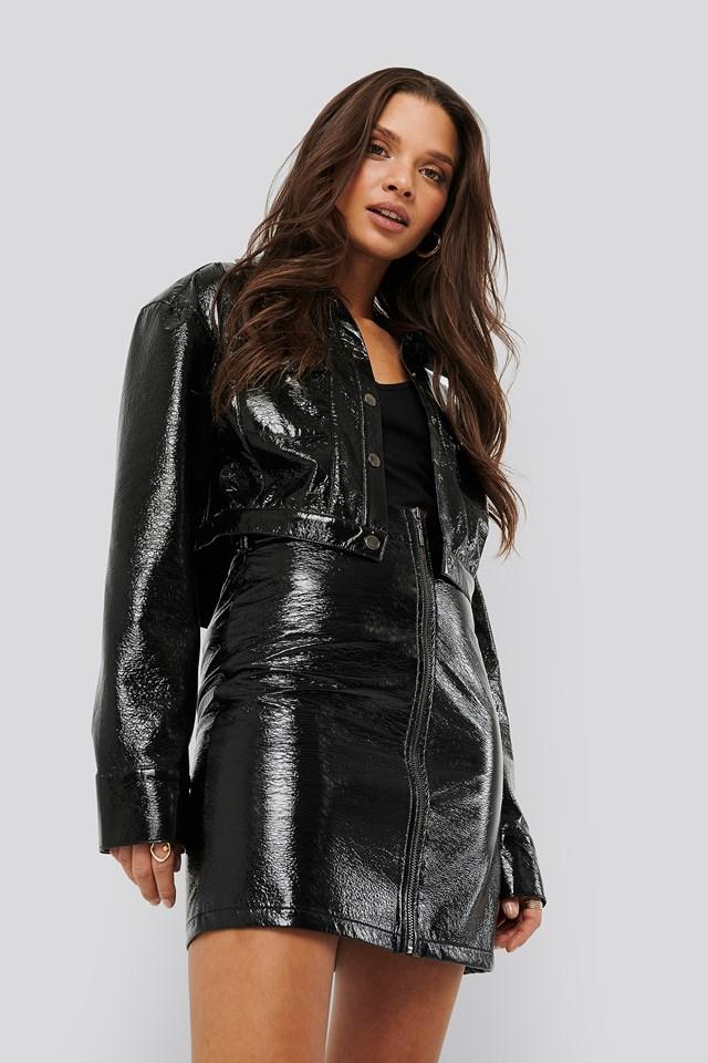 Patent Cropped Jacket Black
