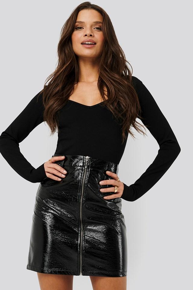 Patent Mini Skirt Black