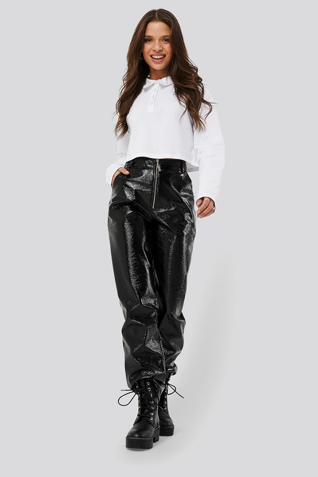Patent Zipper Pants Black