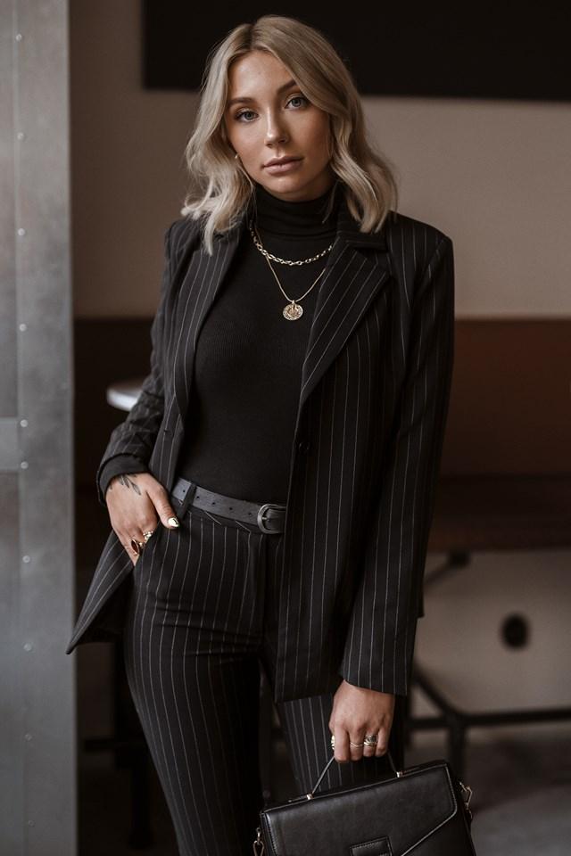 Pinstriped Blazer Jacket Black/White