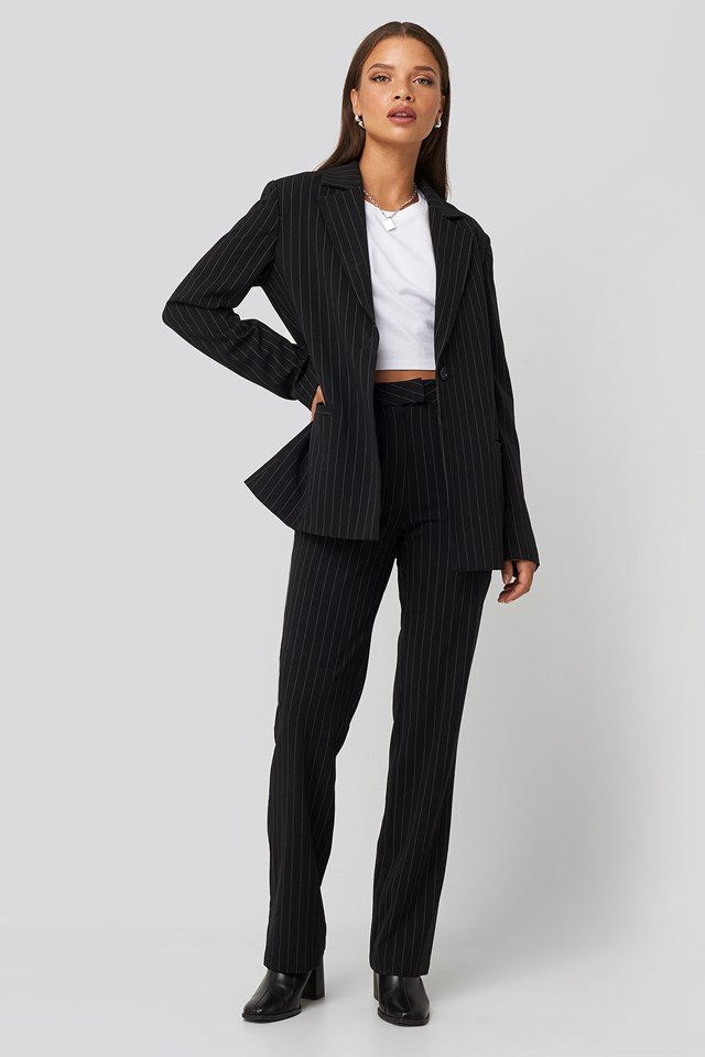 Pinstriped Suit Pants Black/White
