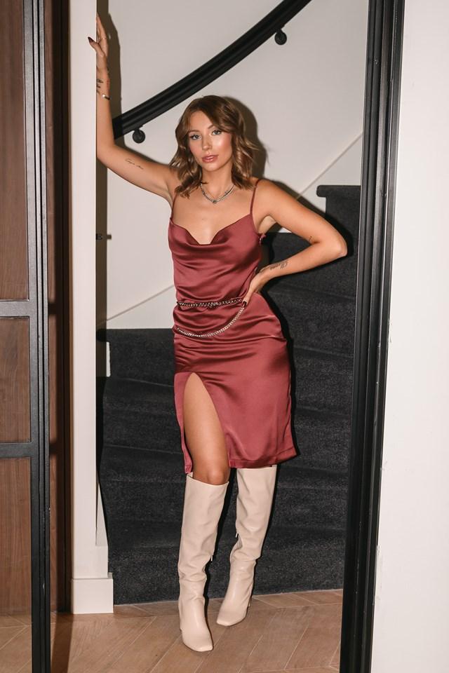 Satin Slit Dress Red