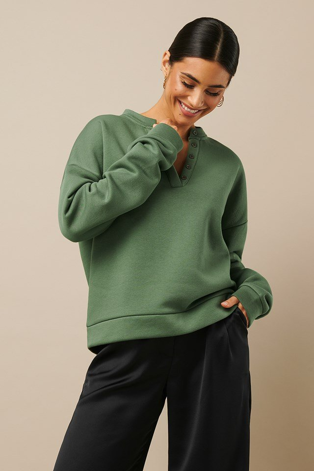 Button Sweatshirt Khaki