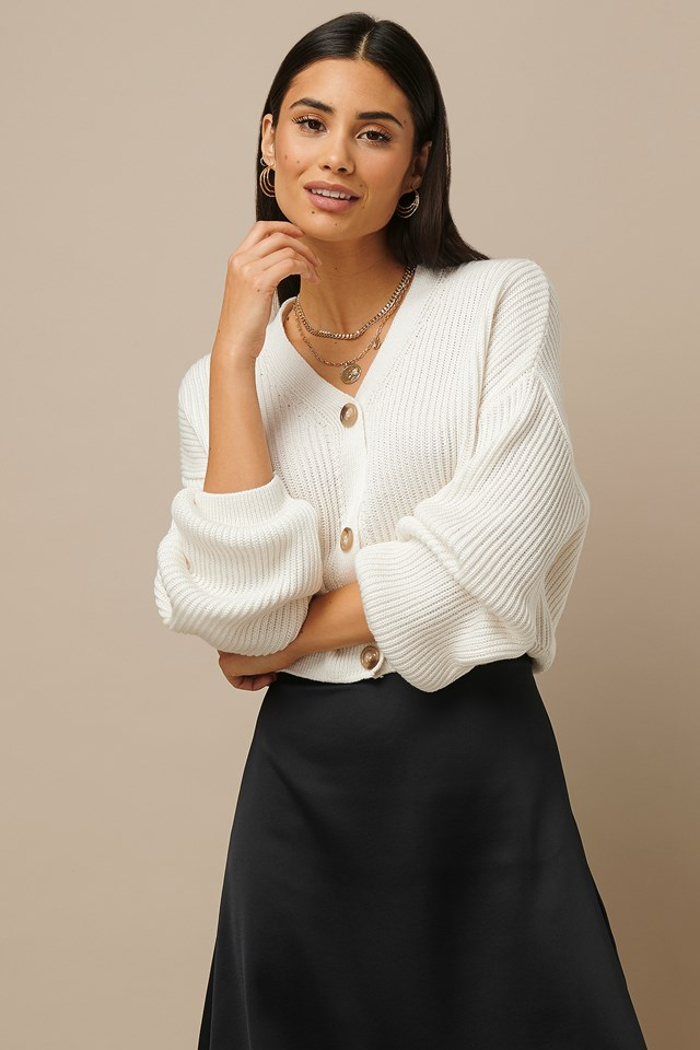 Knitted Big Sleeve Cardigan White
