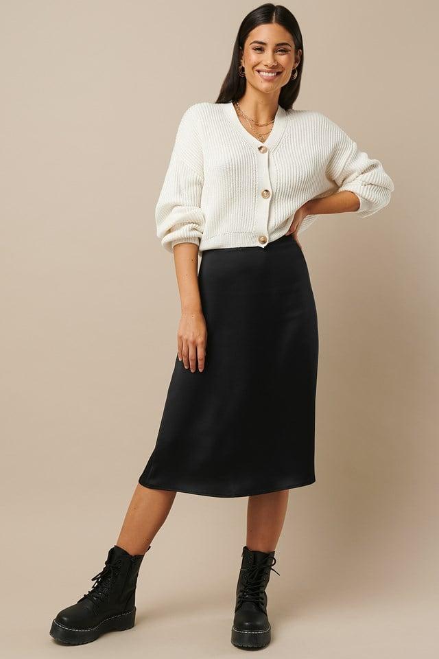 Satin Midi Skirt Black