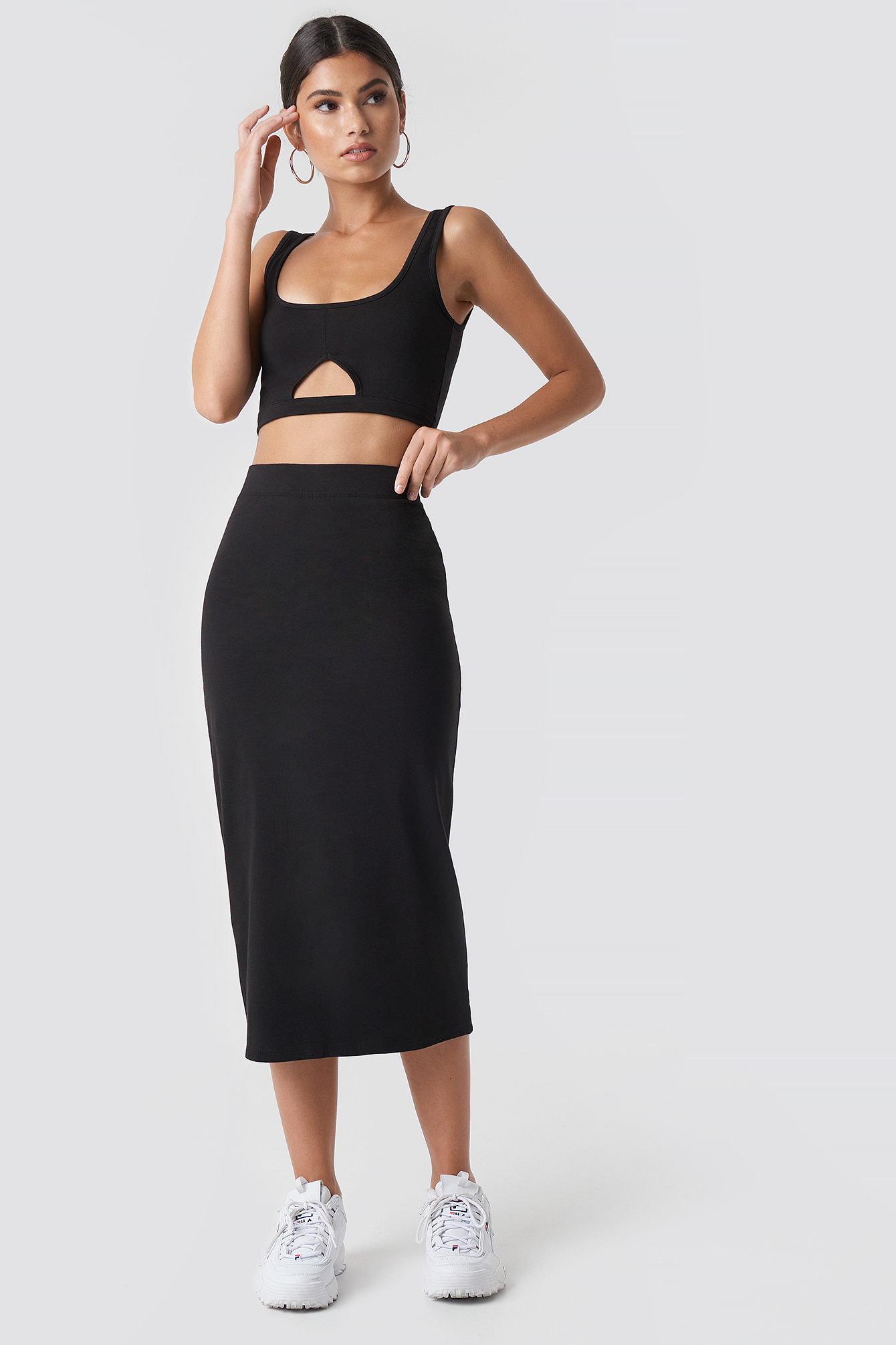 nicki x na-kd -  Basic Midi Skirt - Black