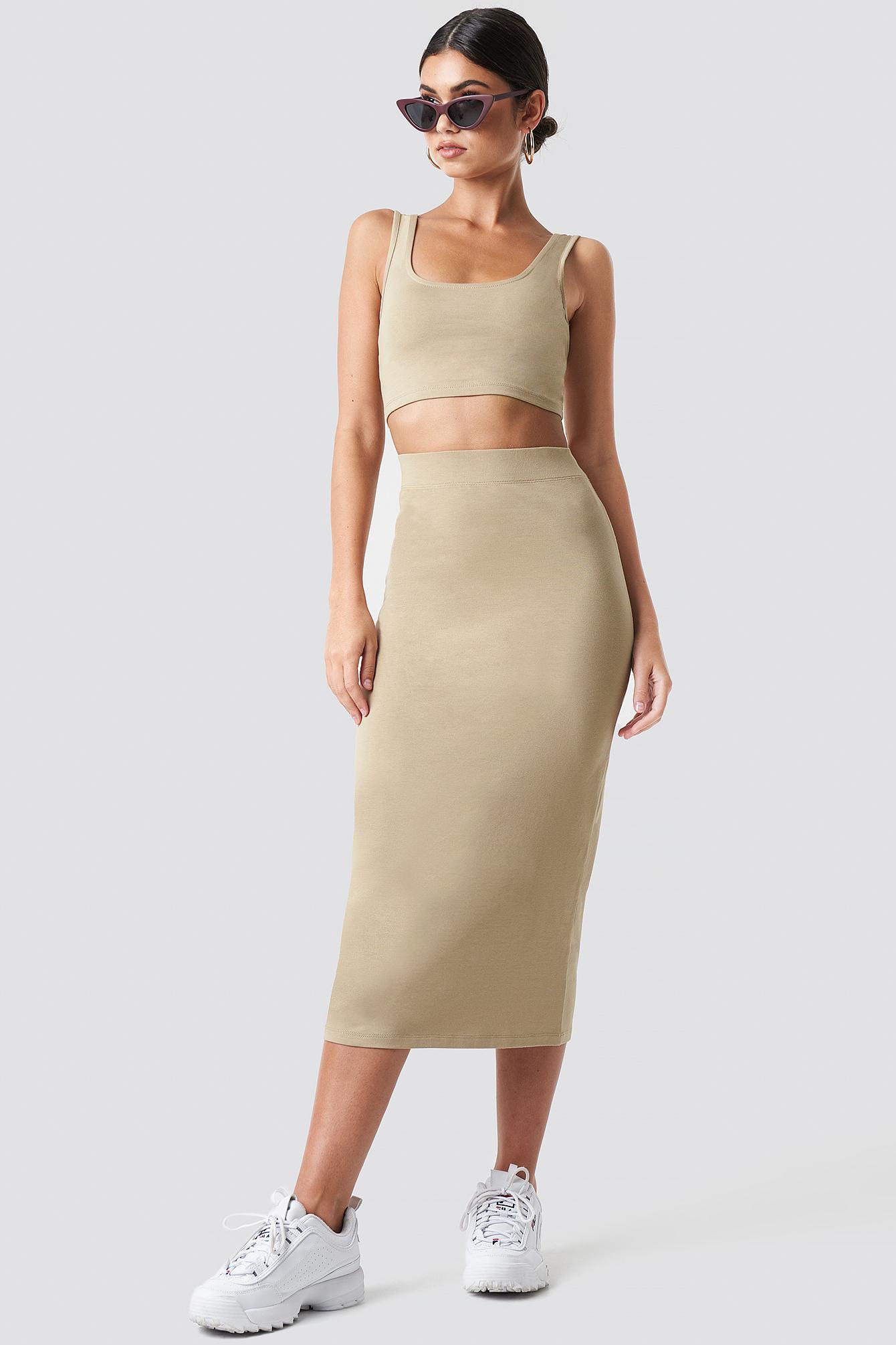 Basic Midi Skirt NA-KD.COM