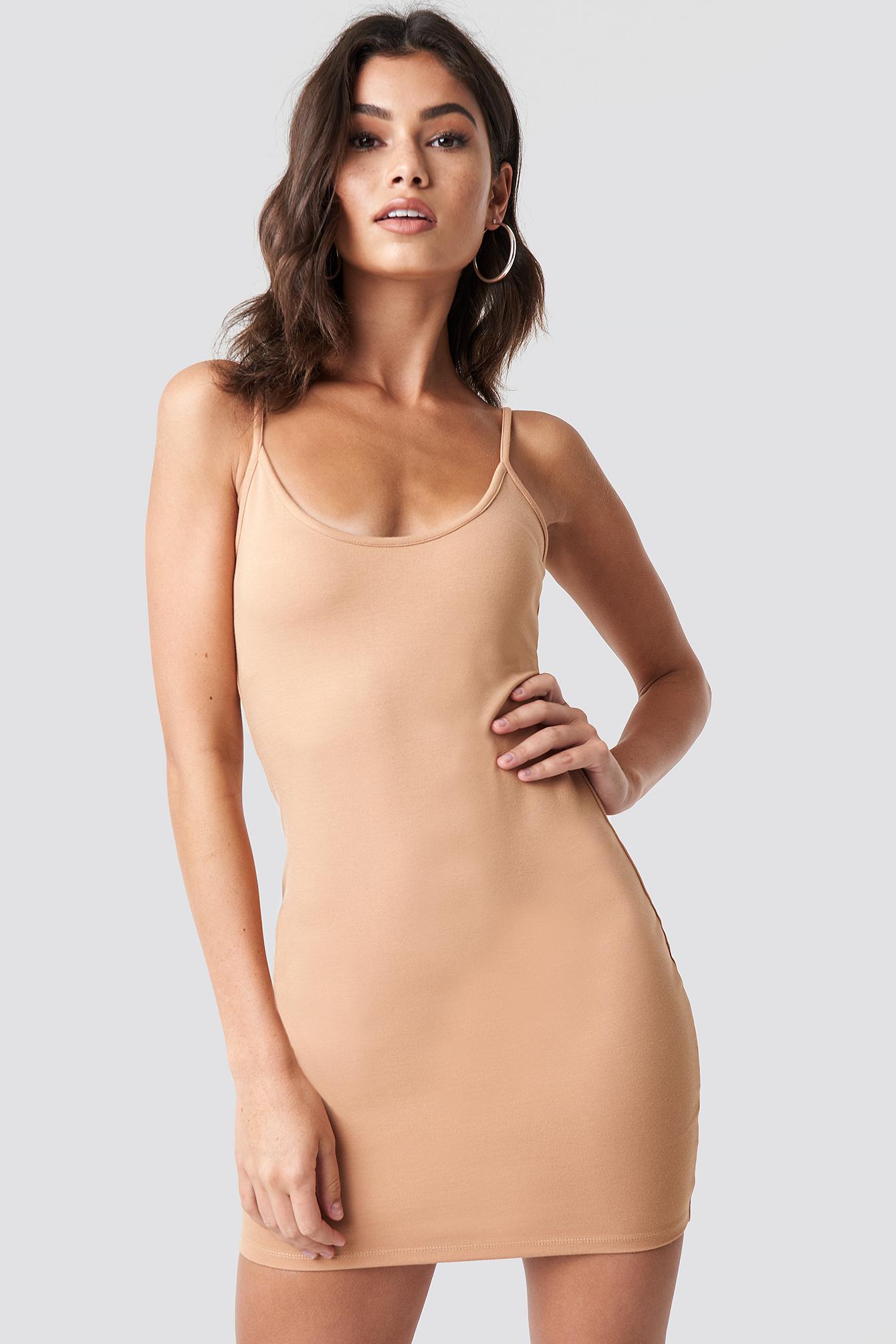 NICKIXNAKD Thin Strap Bodycon Dress - Beige