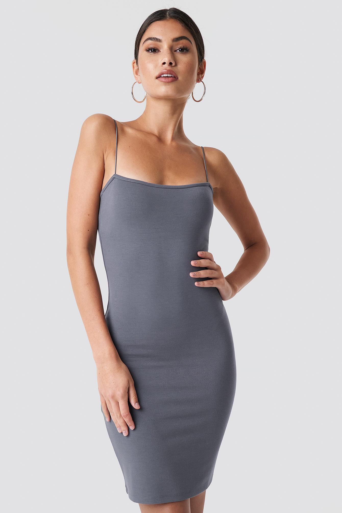 NICKIXNAKD Bodycon Spaghetti Strap Dress - Grey