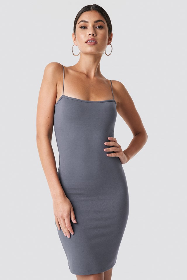 Bodycon Spaghetti Strap Dress Grey