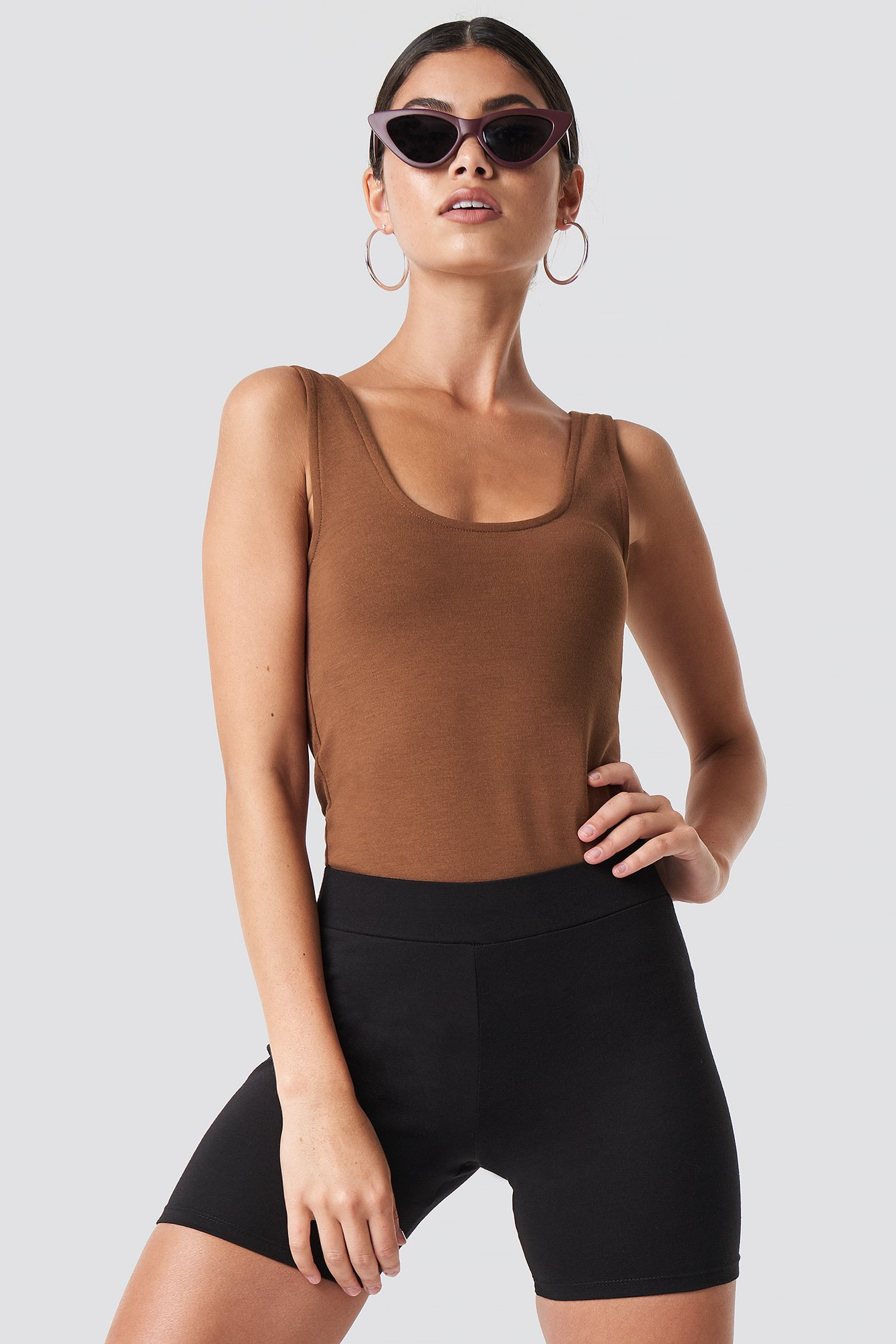 Deep Neck Bodycon Top NA-KD.COM