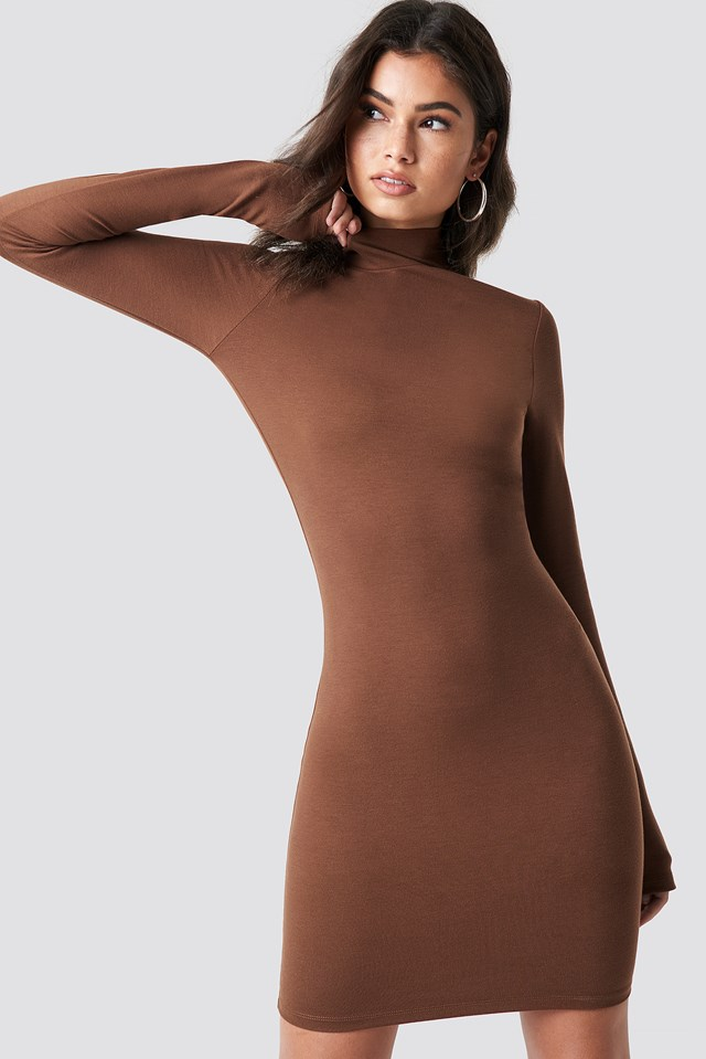 High Neck Bodycon Dress Golden Brown