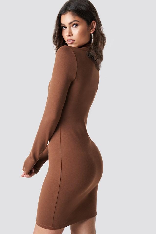High Neck Bodycon Dress Golden Brown