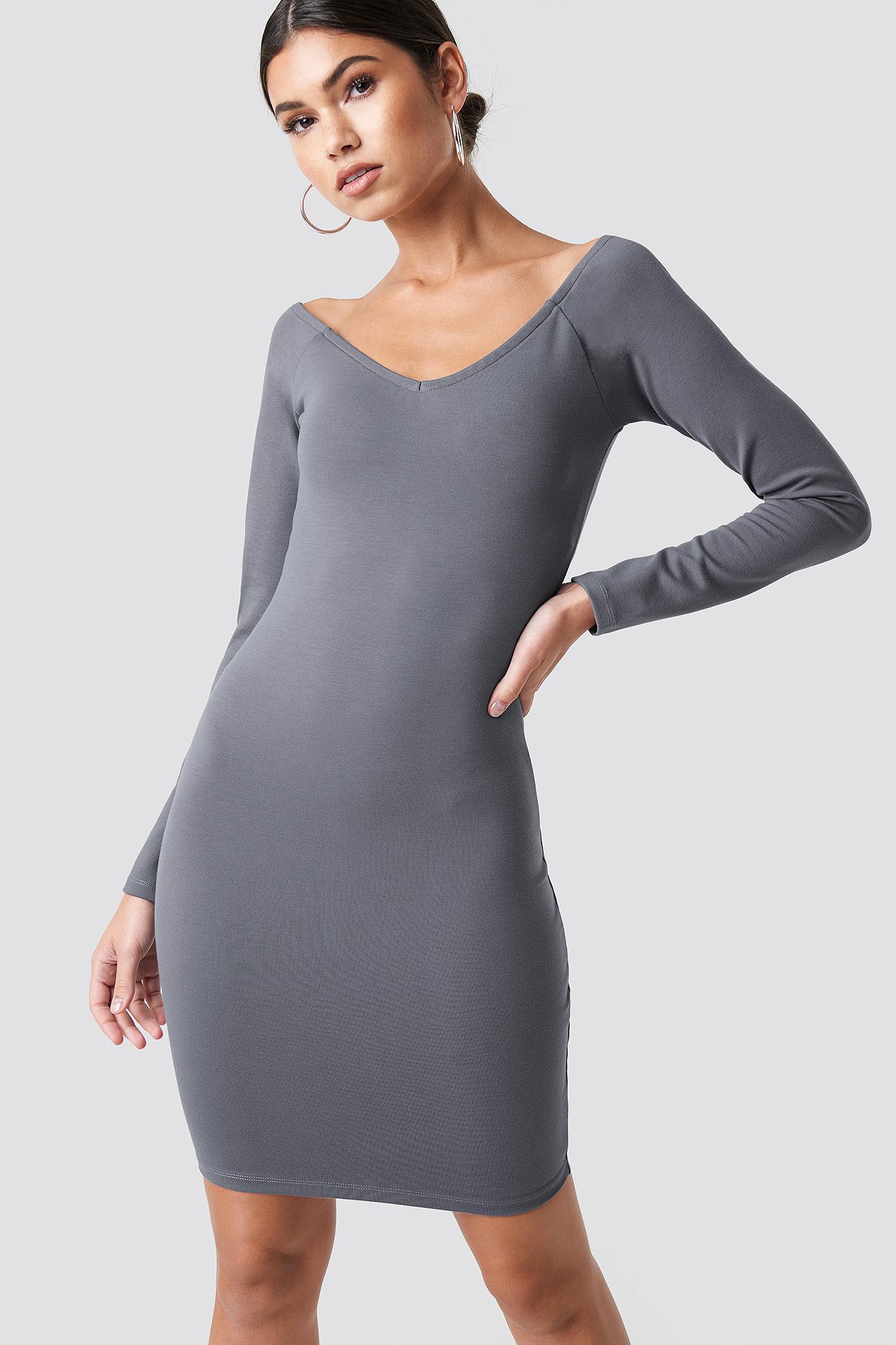 NICKIXNAKD Off Shoulder Fitted Dress - Grey