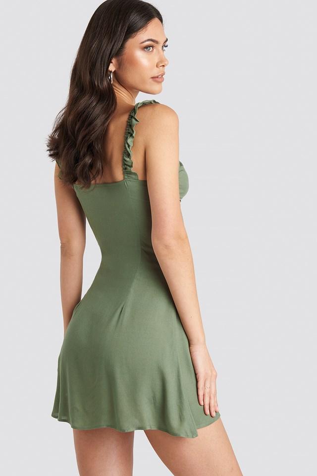 Frill Strap Mini Dress Olive