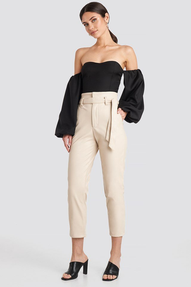 Highwaist PU Pants Light Beige
