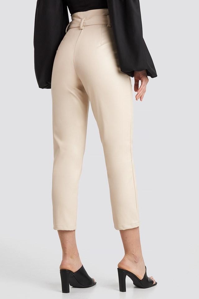 Highwaist PU Pants Light Beige
