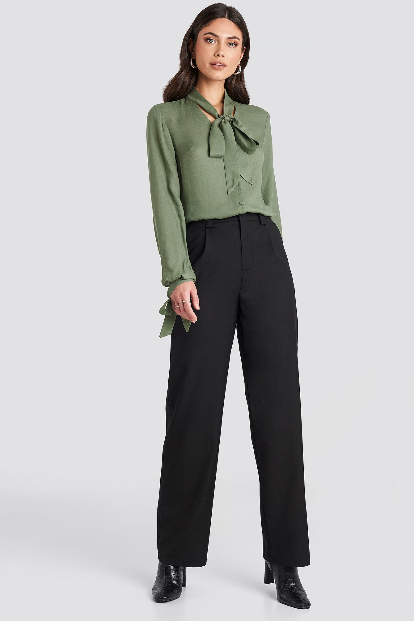 nicole mazzocato x na-kd -  Highwaist Wide Pants - Black