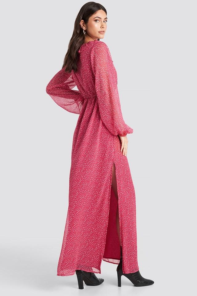 Overlap Frill Dress Petal
