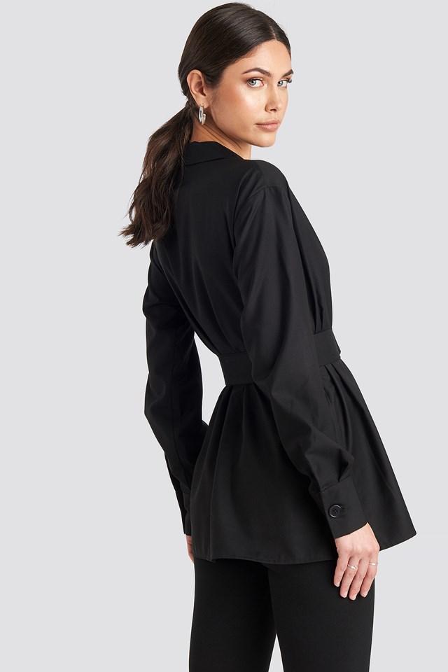 Oversize Belted Shirt Black