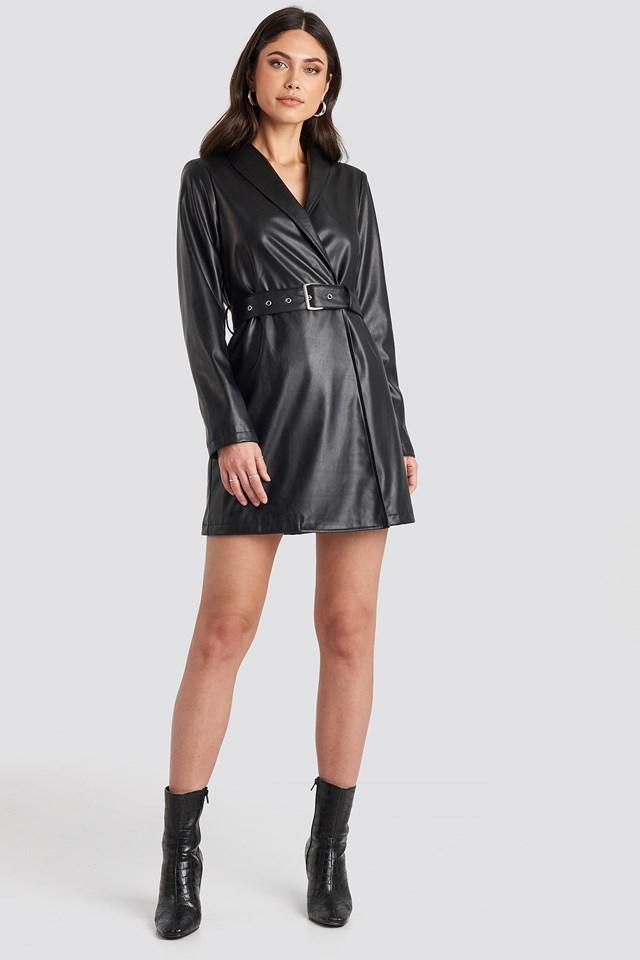 Pu Blazer Dress Black