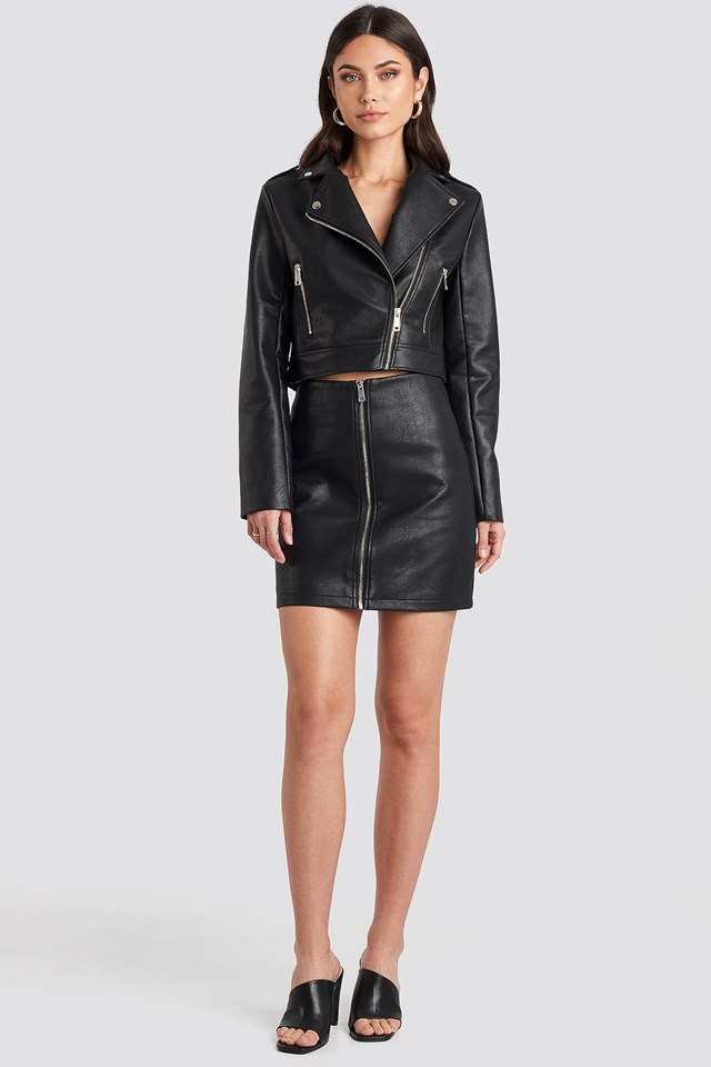 Pu Zipper Skirt Black