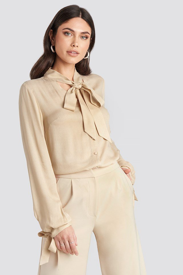 Tied Sleeve Blouse Light Beige
