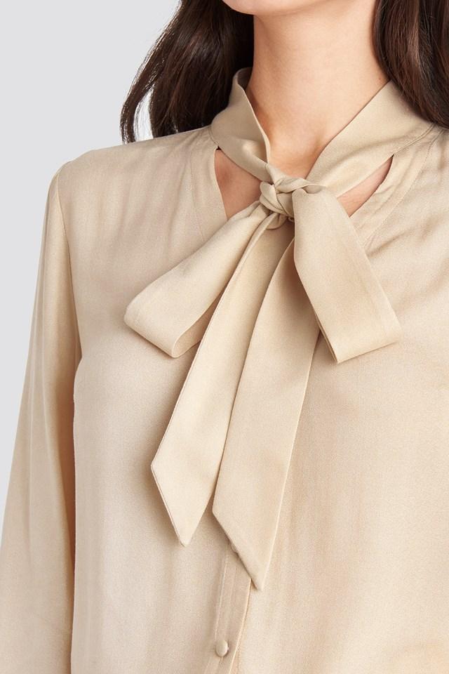 Tied Sleeve Blouse Light Beige