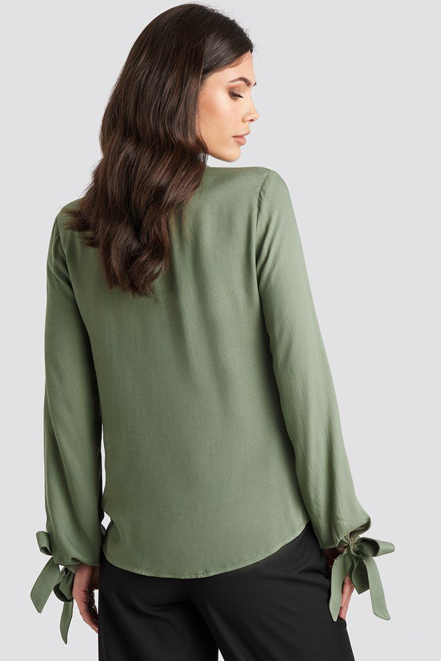 Tied Sleeve Blouse Olive