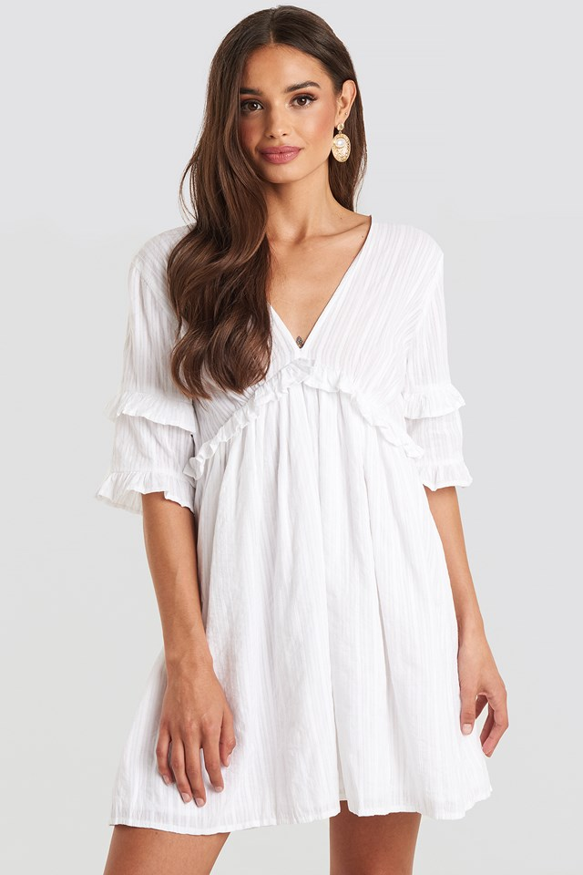 Open Back Ruffle Sleeve Mini Dress White