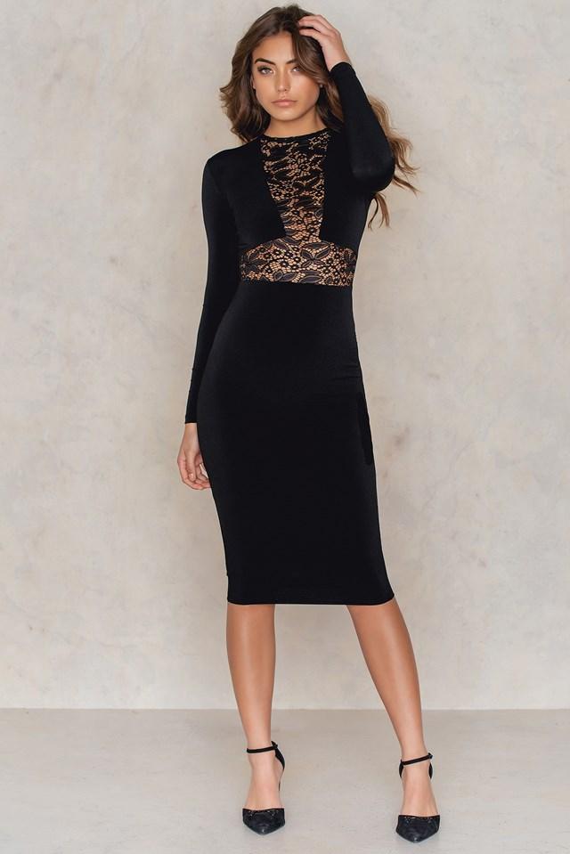 Rebel Heart Long Sleeve Midi Dress Black